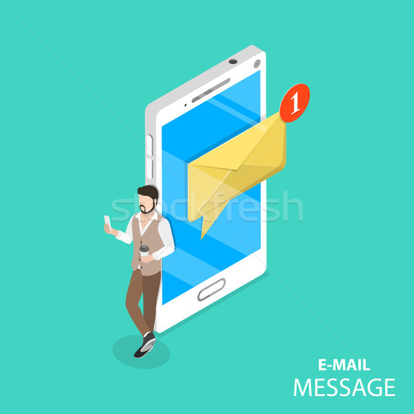 Mobile e-mail notification flat isometric vector. Stock photo © TarikVision