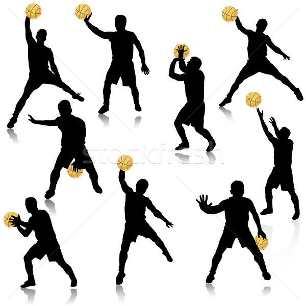 Basketball man in action silhouette set Stock photo © TarikVision