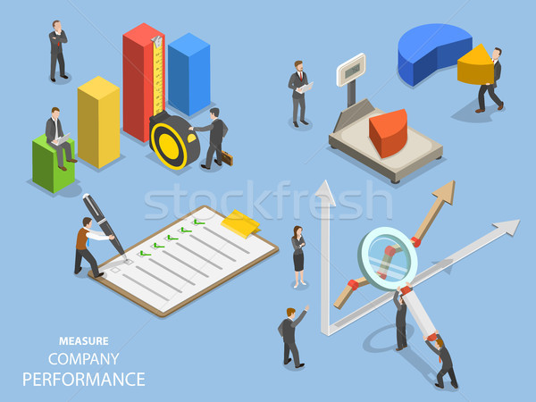 Stock photo: Business benchmarking flat isometric vector.