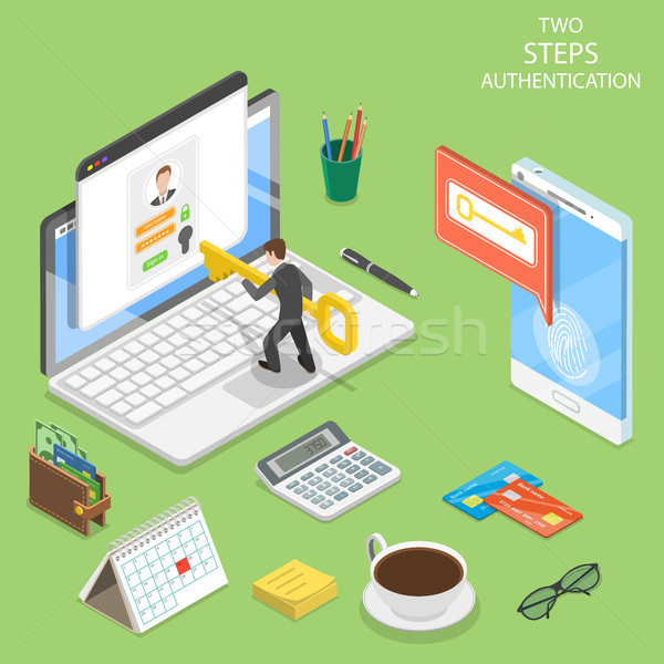 Multi factor authentication flat isometric vector. Stock photo © TarikVision
