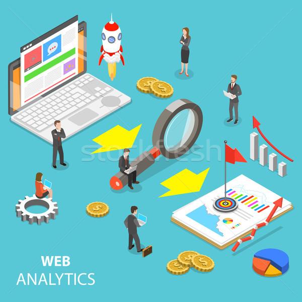 Web analytics isométrique vecteur site statistique Photo stock © TarikVision