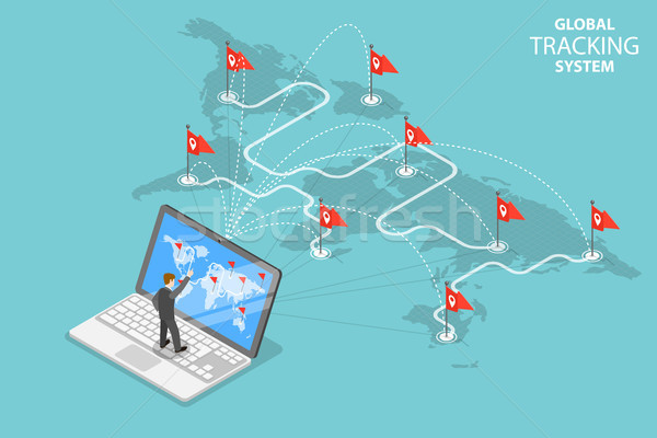 Global tracking system isometric flat vector concept. Stock photo © TarikVision