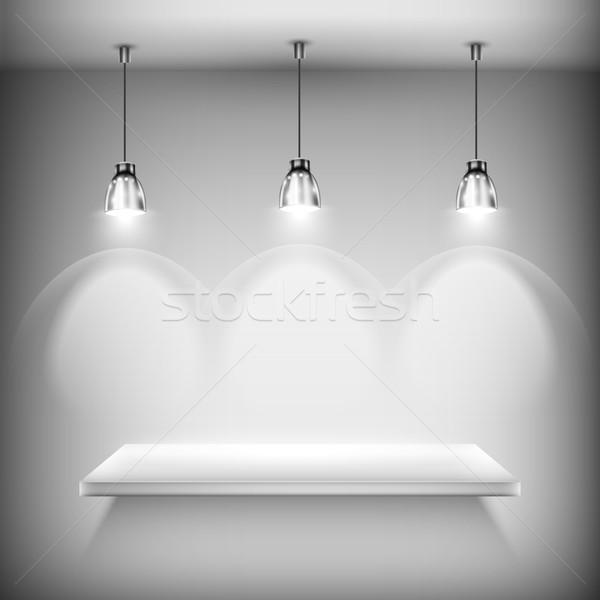 Stockfoto: Witte · lege · plank · verlicht · muur · licht