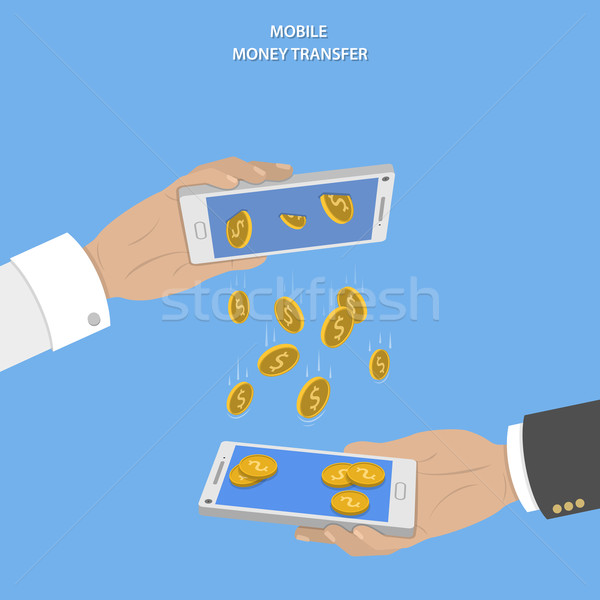 Mobile Überweisung Vektor zwei Hände Stock foto © TarikVision