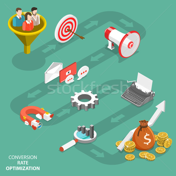 Conversion rate optimization flat isometric vector Stock photo © TarikVision
