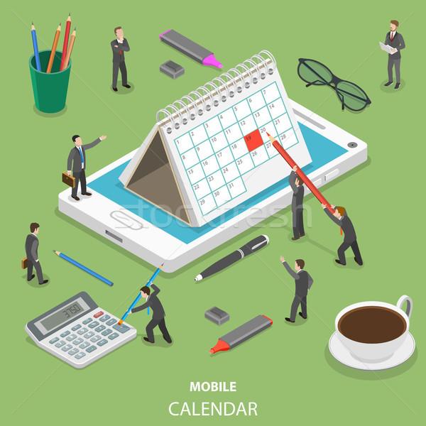 Mobiele kalender isometrische vector mensen Stockfoto © TarikVision