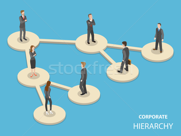 Corporate hierarchy flat isometric vector concept. Stock photo © TarikVision