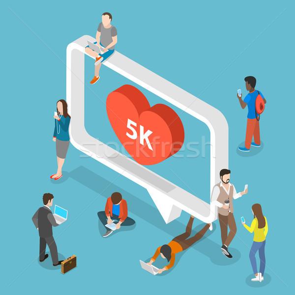 Social media isometrische vector mensen rond groot Stockfoto © TarikVision