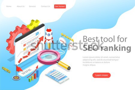 SEO ranking flat isometric vector concept. Stock photo © TarikVision