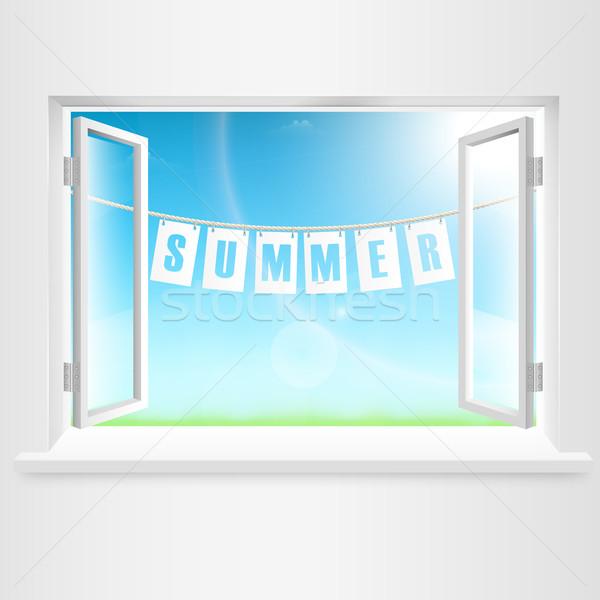 Stockfoto: Zomer · banner · opknoping · uit · venster · hemel