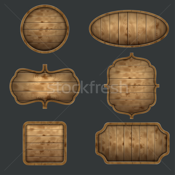 High Quality Set Of Wooden Signboards. Stock photo © TarikVision