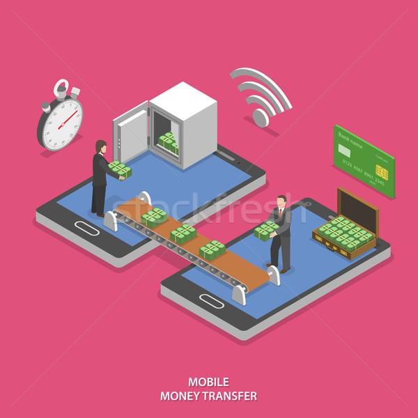 Stock photo: Mobile money transfer flat isometric vector.