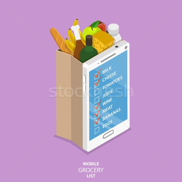 Mobiele kruidenier lijst isometrische vector papier Stockfoto © TarikVision