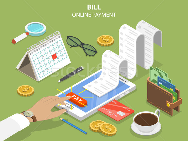 Bills online payment flat isometric vector concept Stock photo © TarikVision