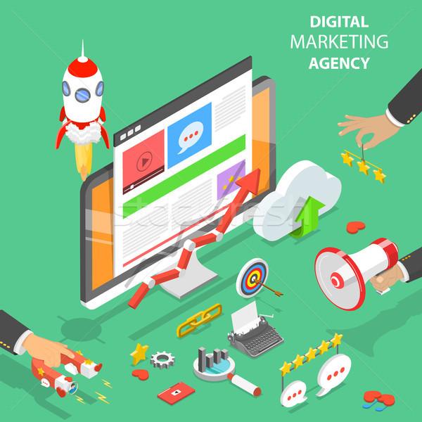 Digital marketing agência isométrica vetor rede social Foto stock © TarikVision