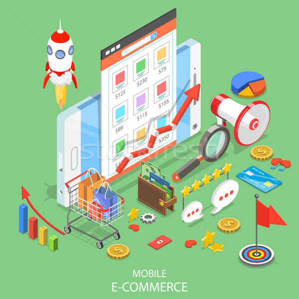 Mobile advertising flat isometric vector concept. Stock photo © TarikVision