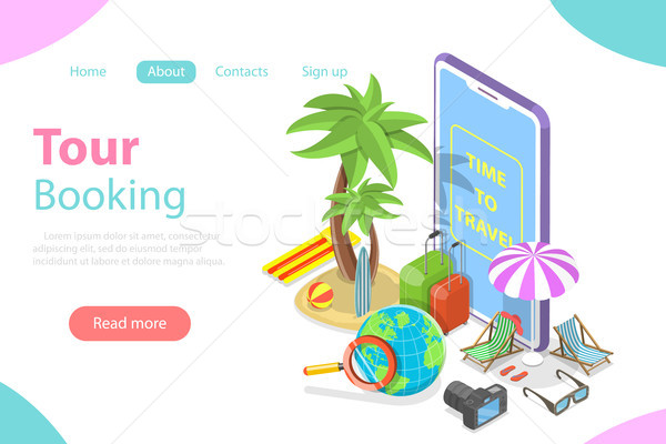 Online tour booking flat isometric vector concept. Stock photo © TarikVision