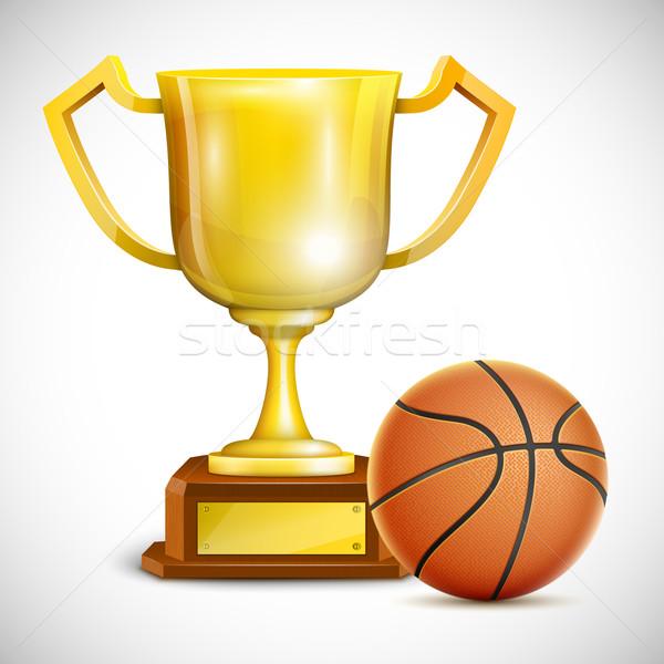 Stockfoto: Gouden · trofee · beker · basketbal · sport · ontwerp