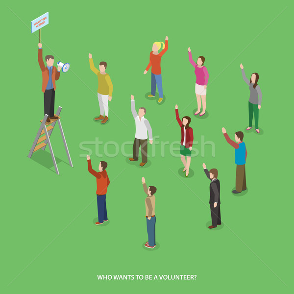 Volunteering flat isometric vector concept.  Stock photo © TarikVision