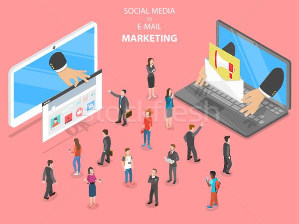 Social media vs e-mail marketing flat vector. Stock photo © TarikVision