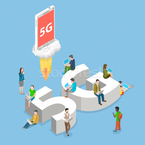 5g flat isometric vector concept. Stock photo © TarikVision