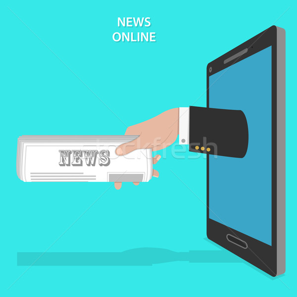 Online news service flat vector concept.  Stock photo © TarikVision