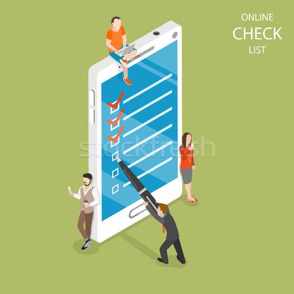 Online controleren lijst isometrische vector Stockfoto © TarikVision