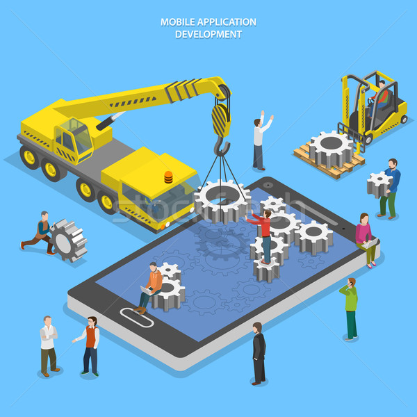 Mobile app development flat isometric vector Stock photo © TarikVision