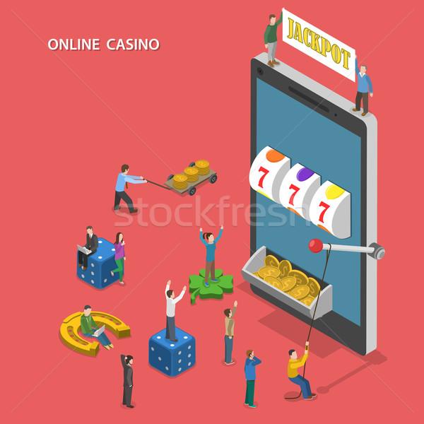Online casino flat isometric vector concept. Stock photo © TarikVision