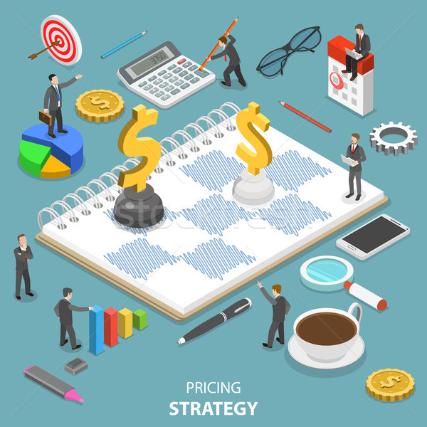 Pricing strategy flat isometric vector concept. Stock photo © TarikVision