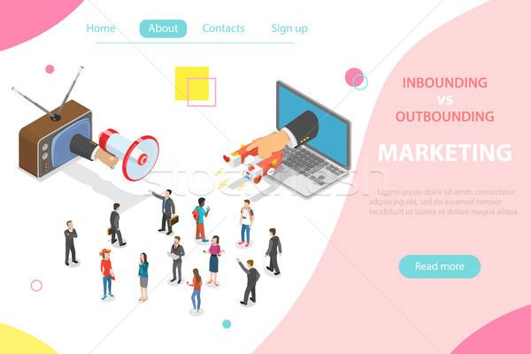 Vs marketing izometrikus vektor kéz megafon Stock fotó © TarikVision