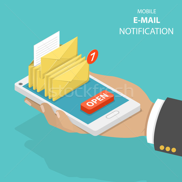 Email notification flat isometric vector concept. Stock photo © TarikVision