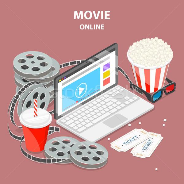 Online film isometrische vector mobiele home cinema Stockfoto © TarikVision