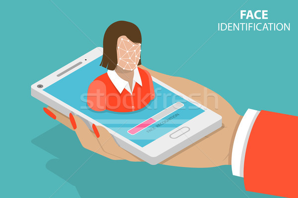 Facial recognition flat isometric vector conceptual illustration. Stock photo © TarikVision