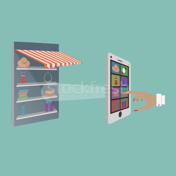 Senhora compra bens loja on-line computador mulher Foto stock © TarikVision