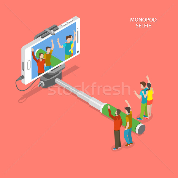 Selfie monopod isometric flat vector concept.  Stock photo © TarikVision