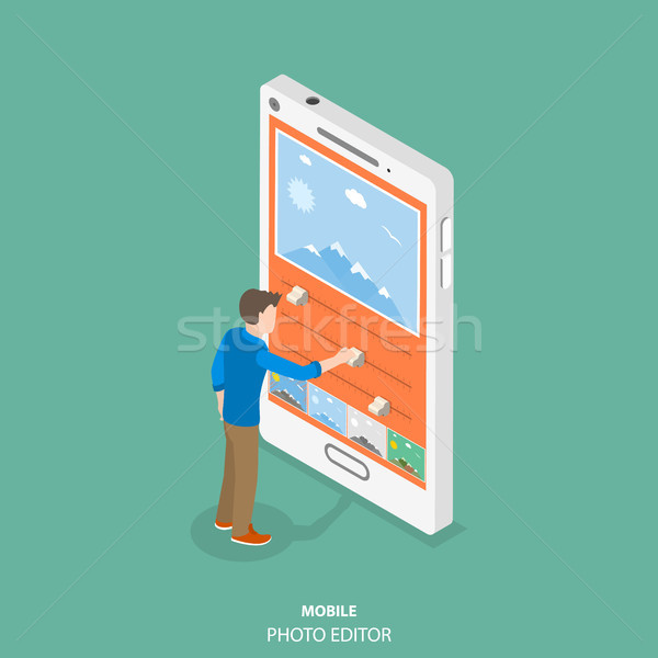 Mobile image editor flat isometric vector concept. Stock photo © TarikVision