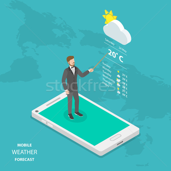 Weather forecast online flat isometric vector. Stock photo © TarikVision