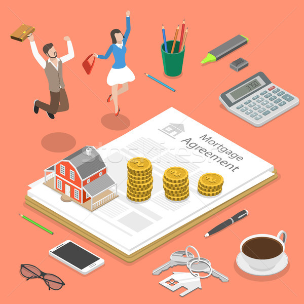 Mortgage flat isometric vector concept. Stock photo © TarikVision