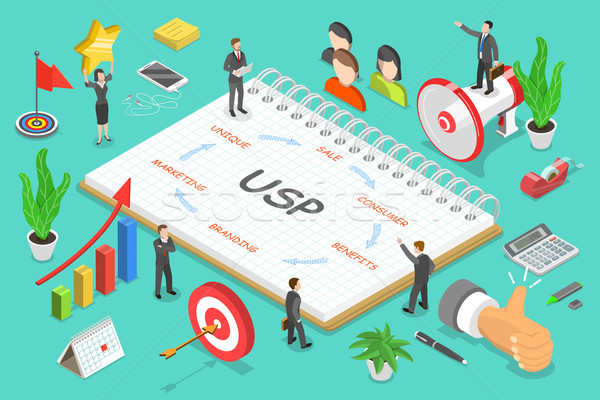 USP - unique selling proposition isometric flat vector. Stock photo © TarikVision