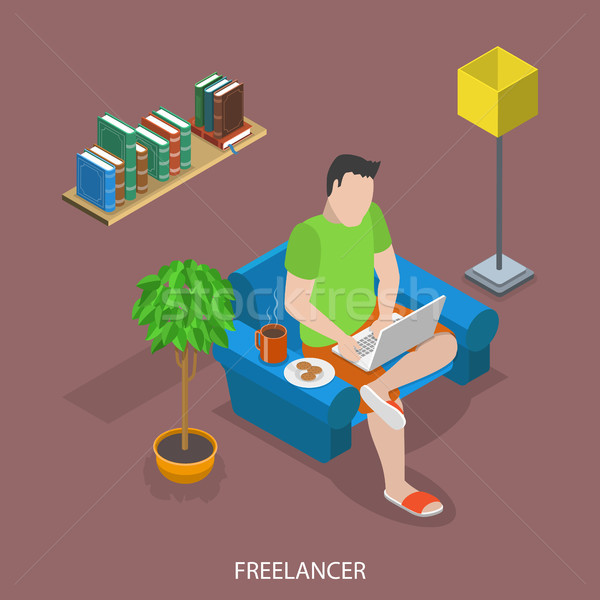 Freelancer flat isometric vector concept Stock photo © TarikVision
