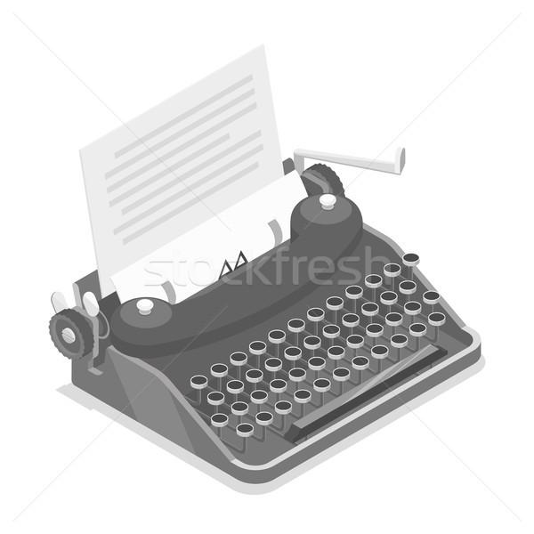 Schrijfmachine isometrische vector zwarte oude stijl Stockfoto © TarikVision