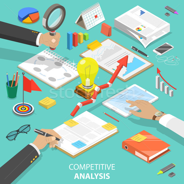 Competitive analysis flat isometric vector concept Stock photo © TarikVision
