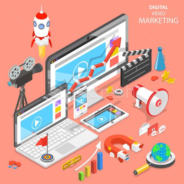 цифровой видео маркетинга изометрический вектора реклама Сток-фото © TarikVision