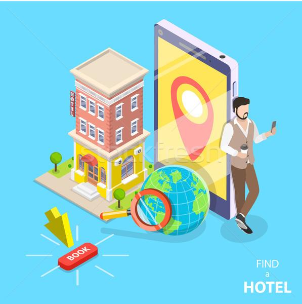 Online hotel keresés izometrikus vektor előre bejelentkezés Stock fotó © TarikVision