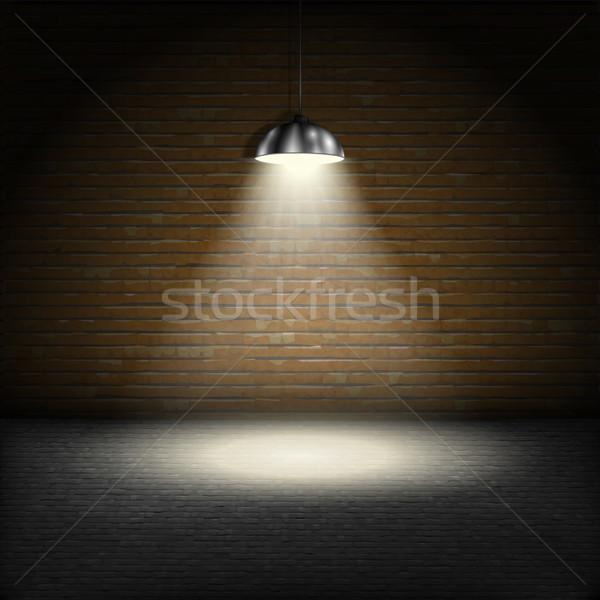 Reflektor téglafal fény otthon éjszaka kő Stock fotó © TarikVision