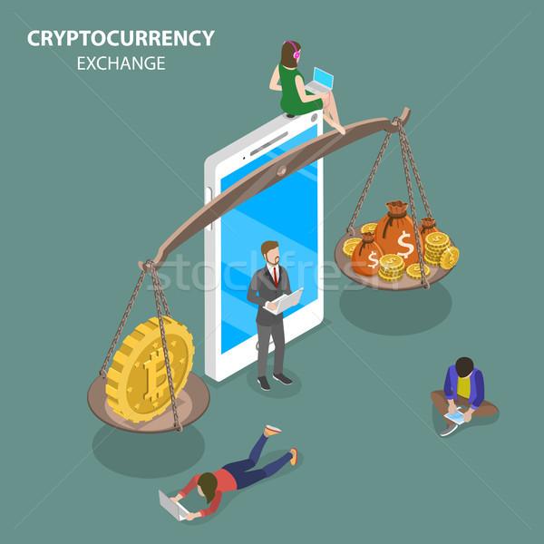 Cryptocurrency exchange flat isometric vector. Stock photo © TarikVision