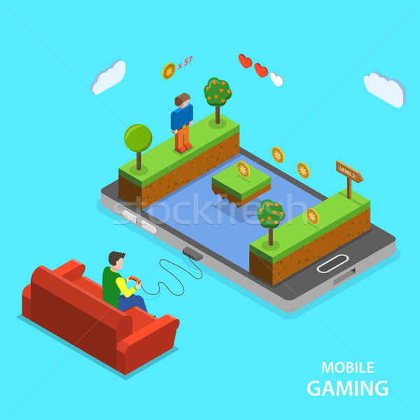 Mobile gaming flat isometric vector concept. Stock photo © TarikVision
