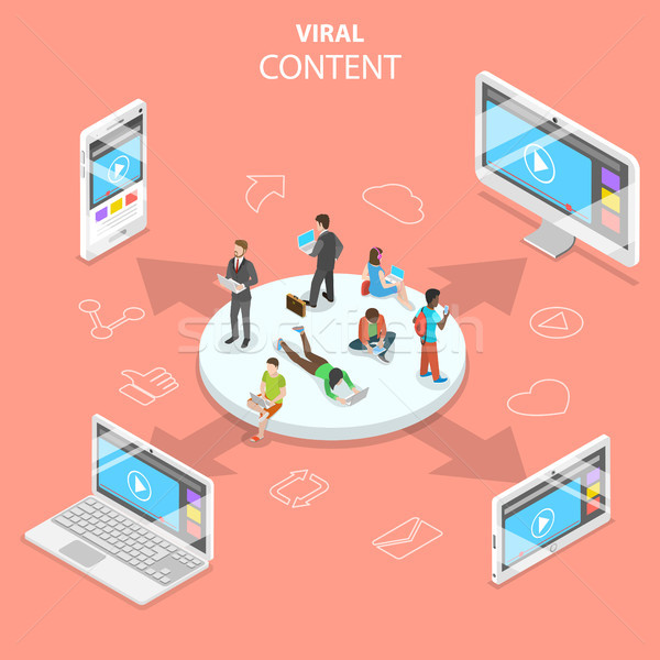 Viral content flat isometric vector concept. Stock photo © TarikVision