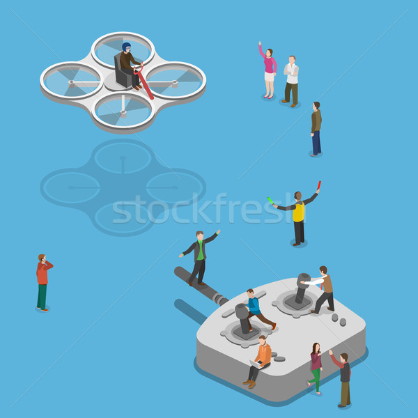 Flying quadcopter isometric flat vector concept.  Stock photo © TarikVision